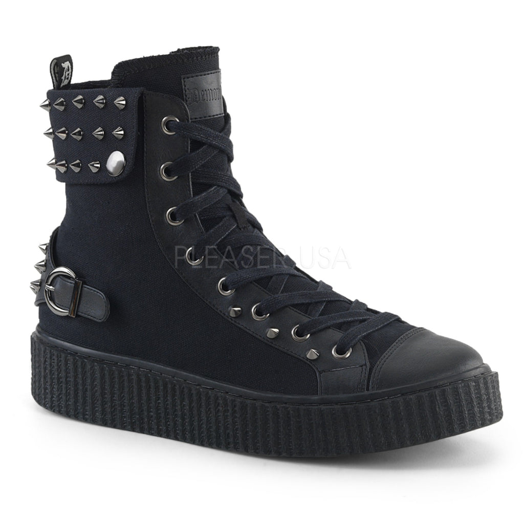 Black Canvas Stud Cuffed Snap Collar High Top Round Toe Lace Up Creeper Sneaker