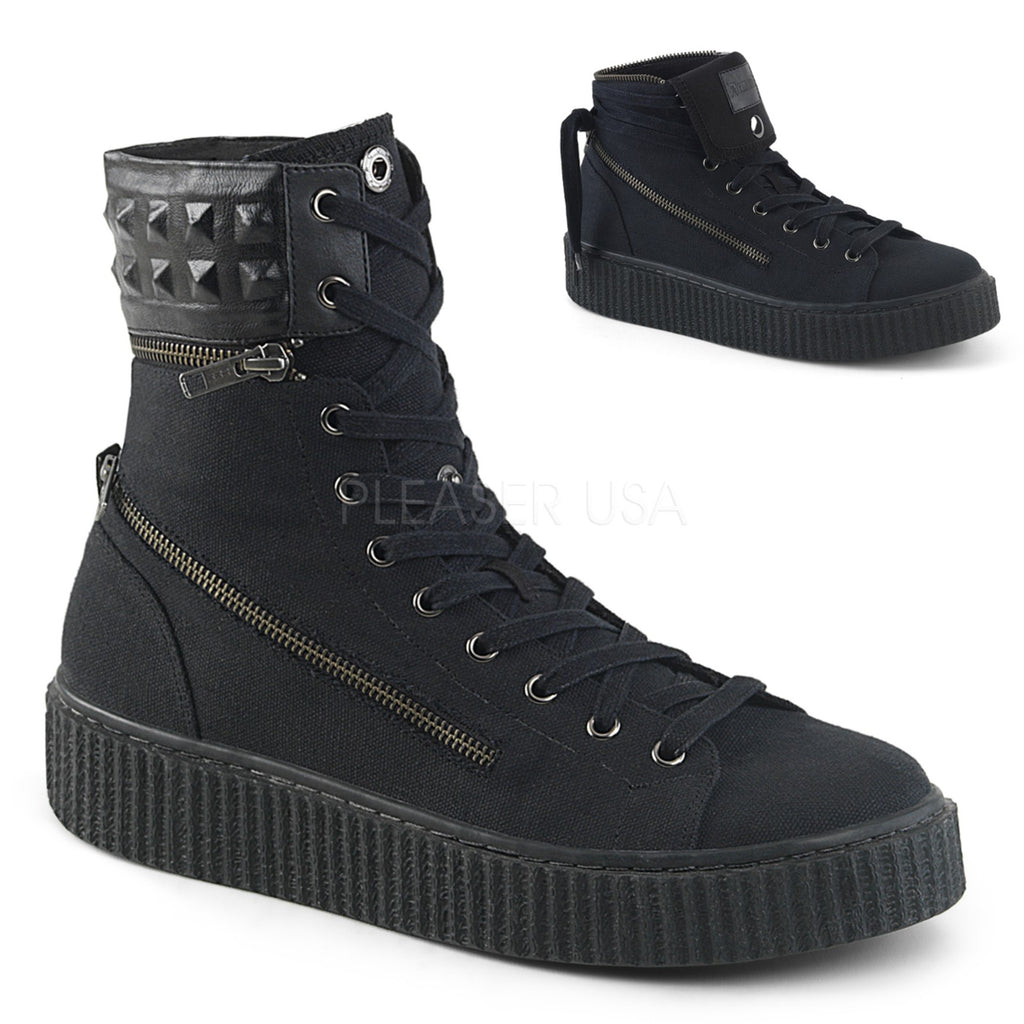 Black Canvas Convertible Padded Collar High Top Lace-Up Creeper Sneaker Shoes