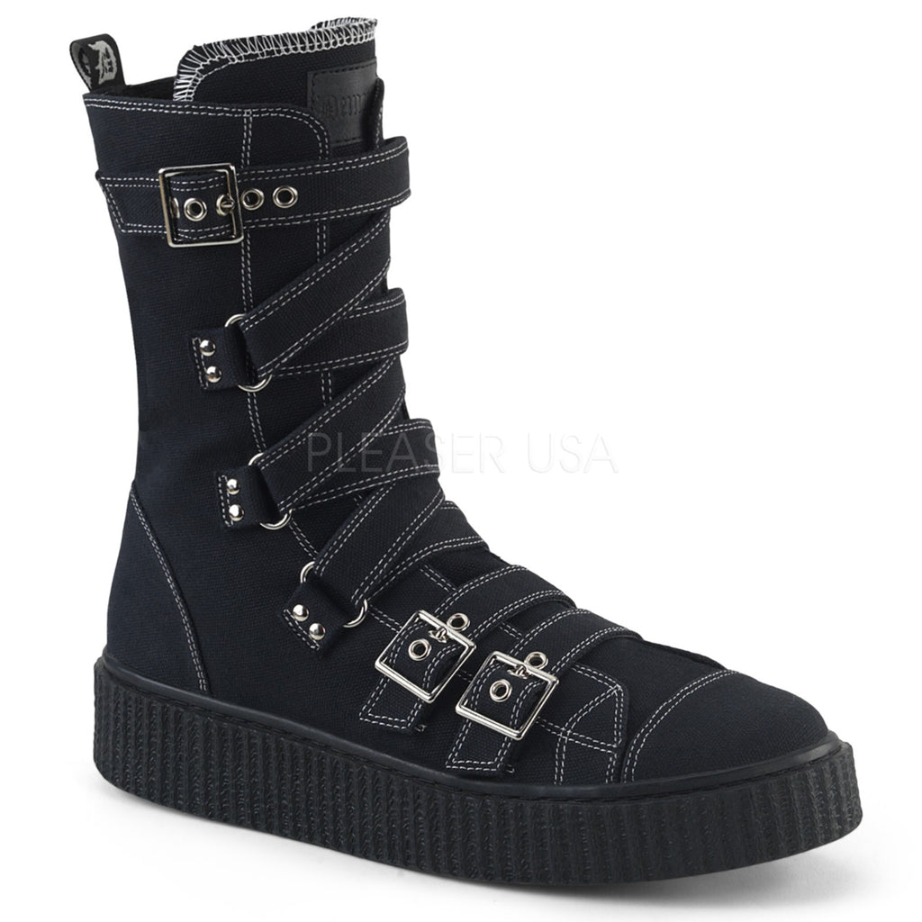 Black Canvas Zigzag Buckle Straps Calf High Creeper Sneaker Boots Goth Punk