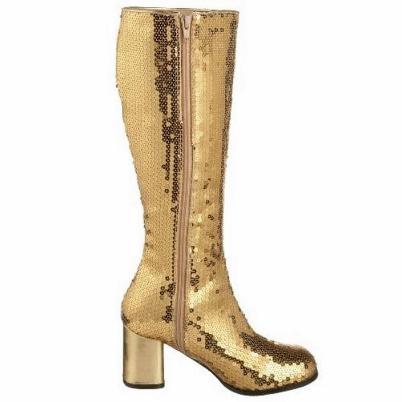 Gold Sequins Womens Knee High Boots Burlesque Gogo Block Heel Inner Side Zip
