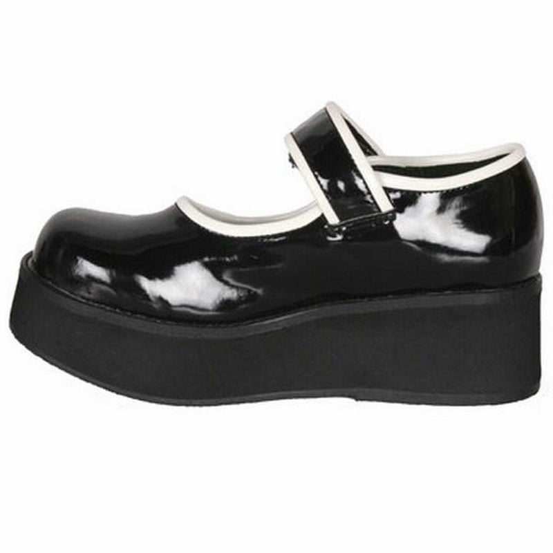 Black White Patent Cyber Goth Punk Lolita Mary Jane Sandals Wedge Platform Shoes