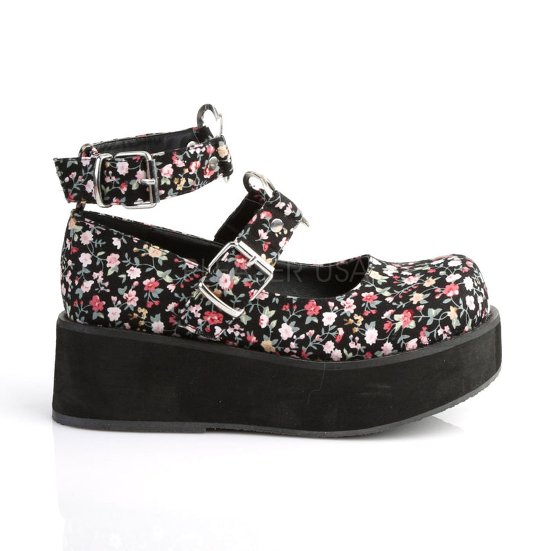 Floral Fabric Womens Platfrom Mary Jane Shoes Heart O-Rings Ankle Straps DEMONIA