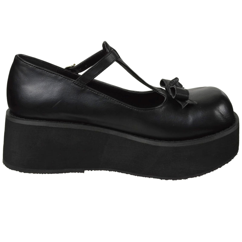 Black Vegan Leather Womens Goth Lolita T-Strap Wedge Platform Mary Jane Shoes