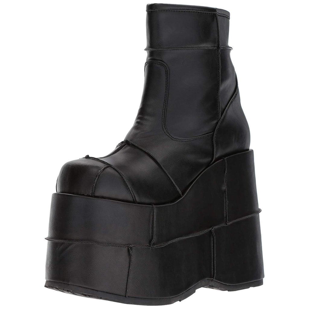 Black Vegan Leather Stacked Platform Ankle Boots Cyber Goth Club Gogo Dancer