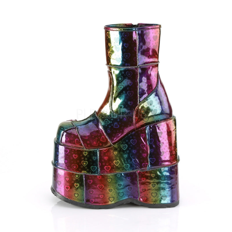 Rainbow Heart Hologram Vegan Leather Mens Wedge Platform Ankle Boots DEMONIA