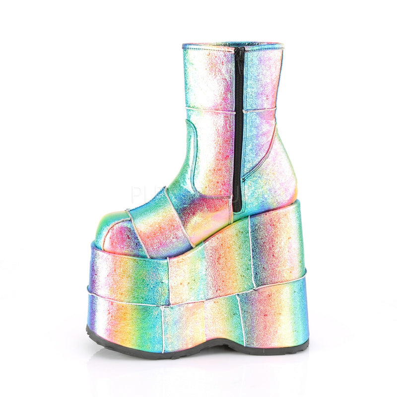 Rainbow Iridescent Vegan Leather Mens Wedge Platform Ankle Boots Zip Closure