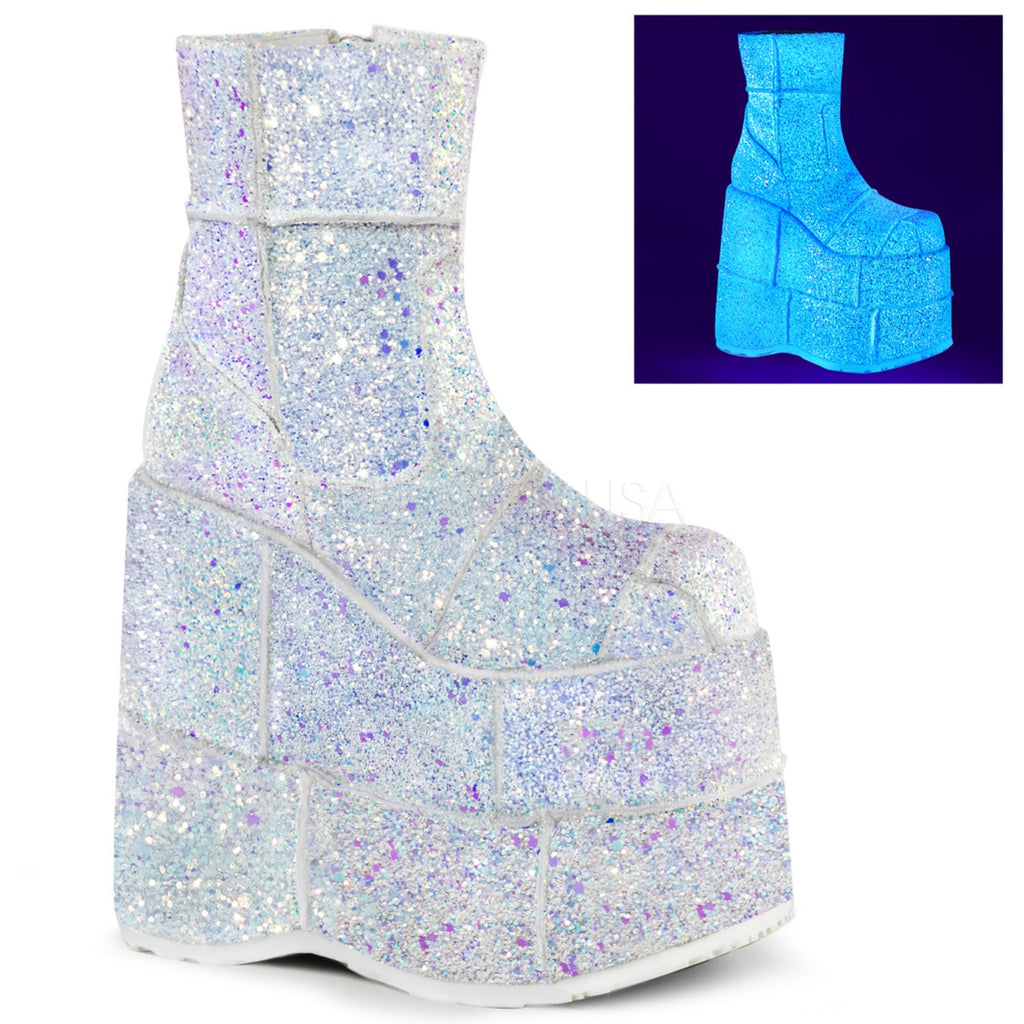 White Multi Glitter Stacked Platform Ankle Boots Cyber Goth Club Gogo Dancer