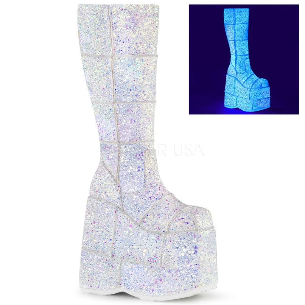White Multi Glitter Goth Punk Cyber Patched Knee High Boots Stacked Platform