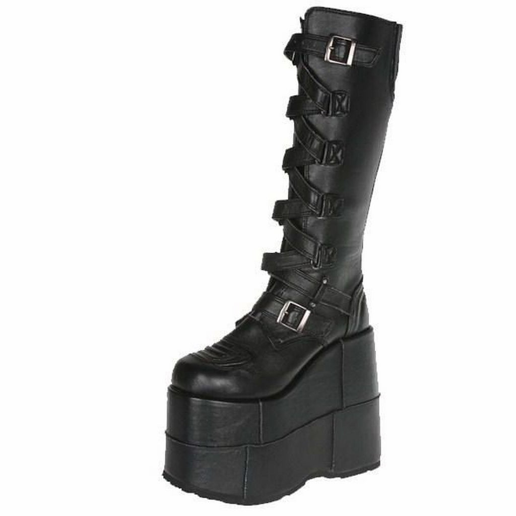 Black Matte Mens Cyber Goth Punk Platform Knee High Boot Gothic Zip Zag Straps