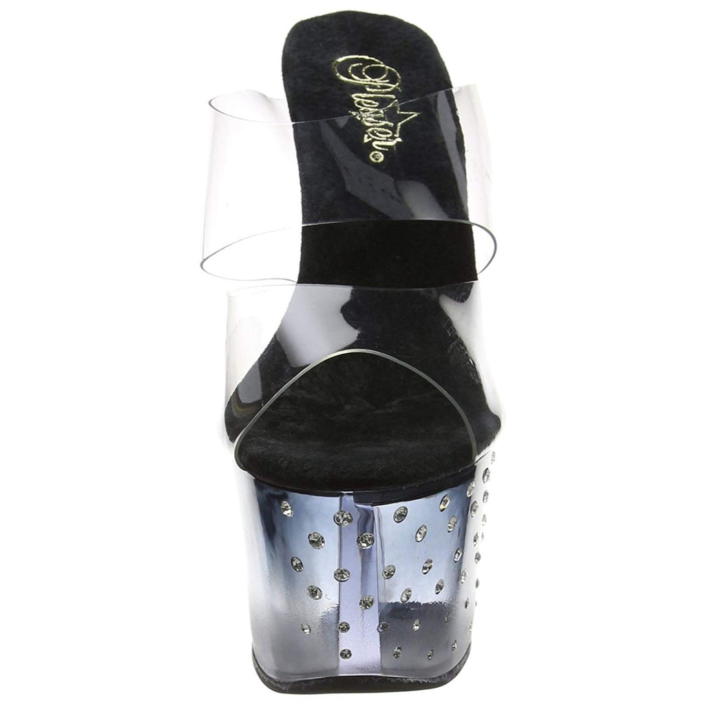 Black Clear Stripper Slip On Dual Band Slide Rhinestone Platform High Heel Shoes