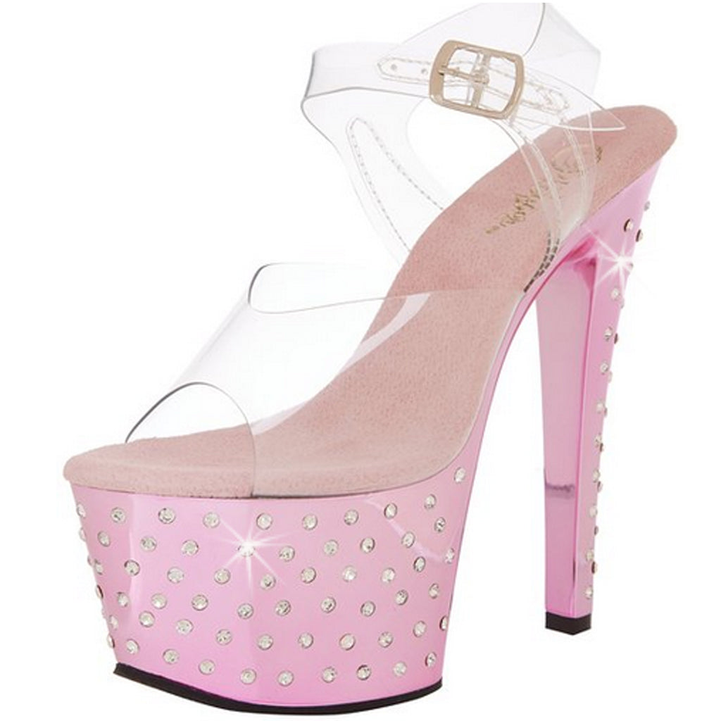 Baby Pink Chrome Rhinestones Platform Ankle Strap Sandals Exotic Stripper Shoes