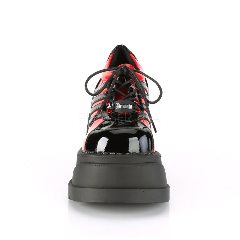 Black Red Patent Womens Cyber Gothic Punk Alternative Platforms Sneakers Shoes