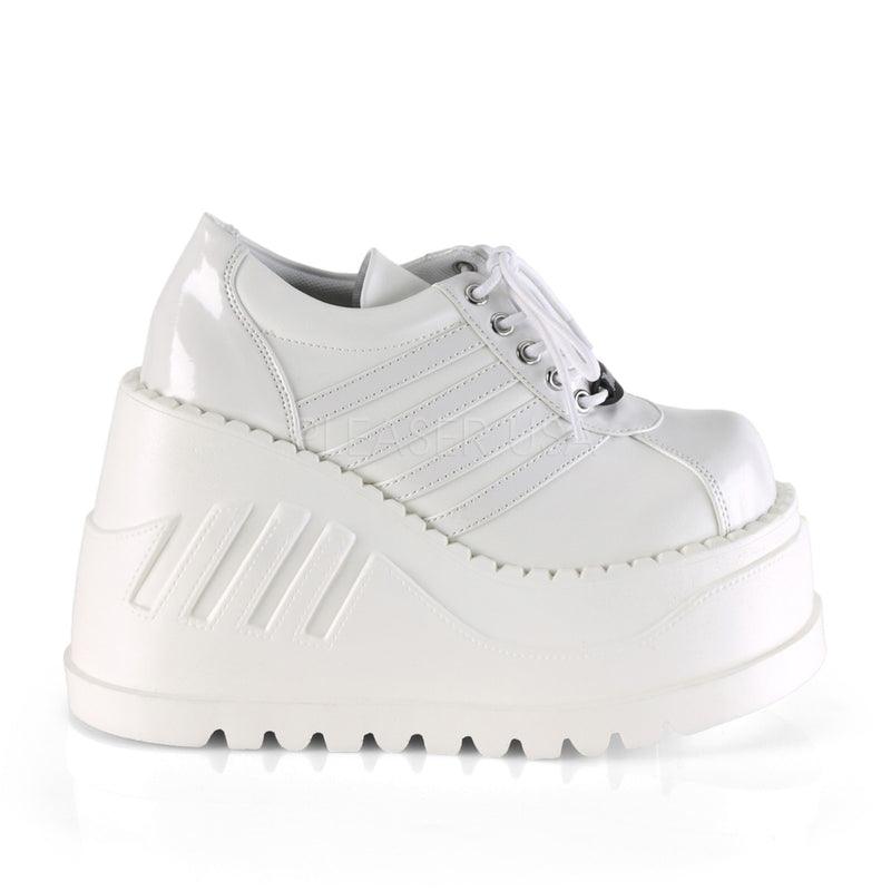 White Patent Vegan Leather Cyber Gothic Punk Alternative Platforms Sneaker Shoes