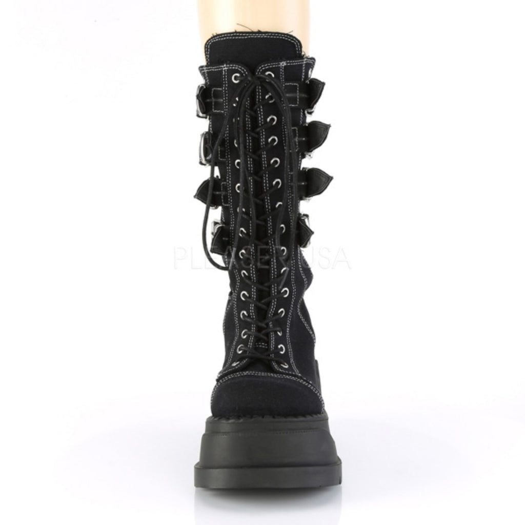 Black Canvas Womens Lace Up Gothic Stomp Cyber Wedge Platform Mid Calf Boots