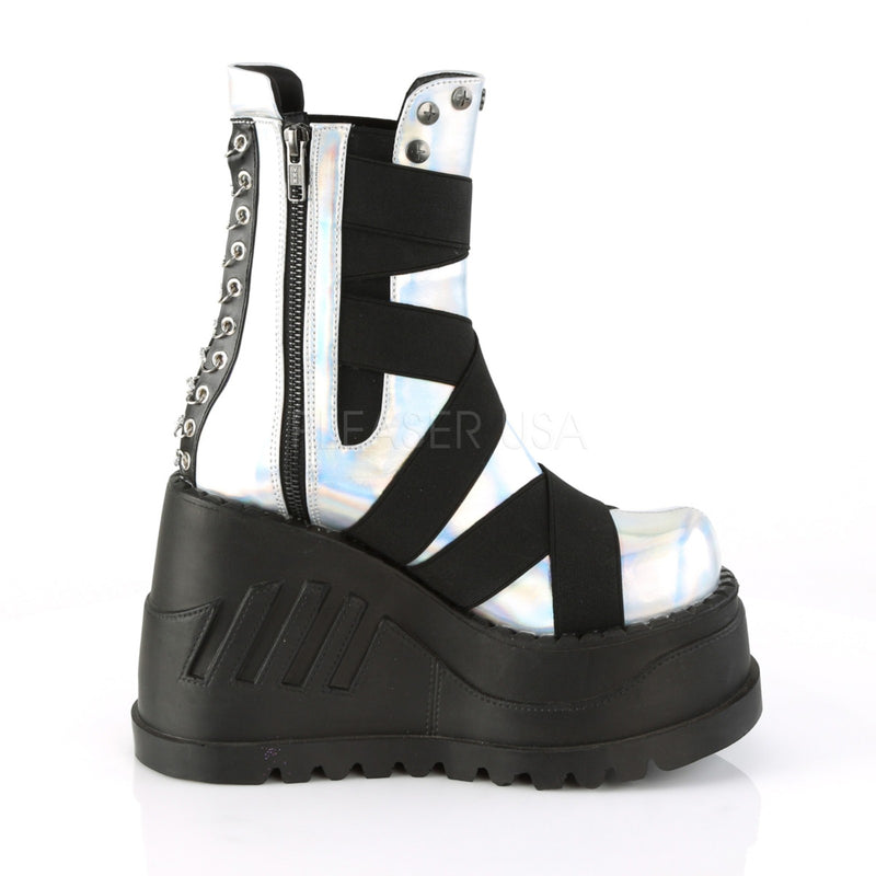 Silver Hologram Elastic Bands Platform Alternative Goth Punk Mid Calf Boots