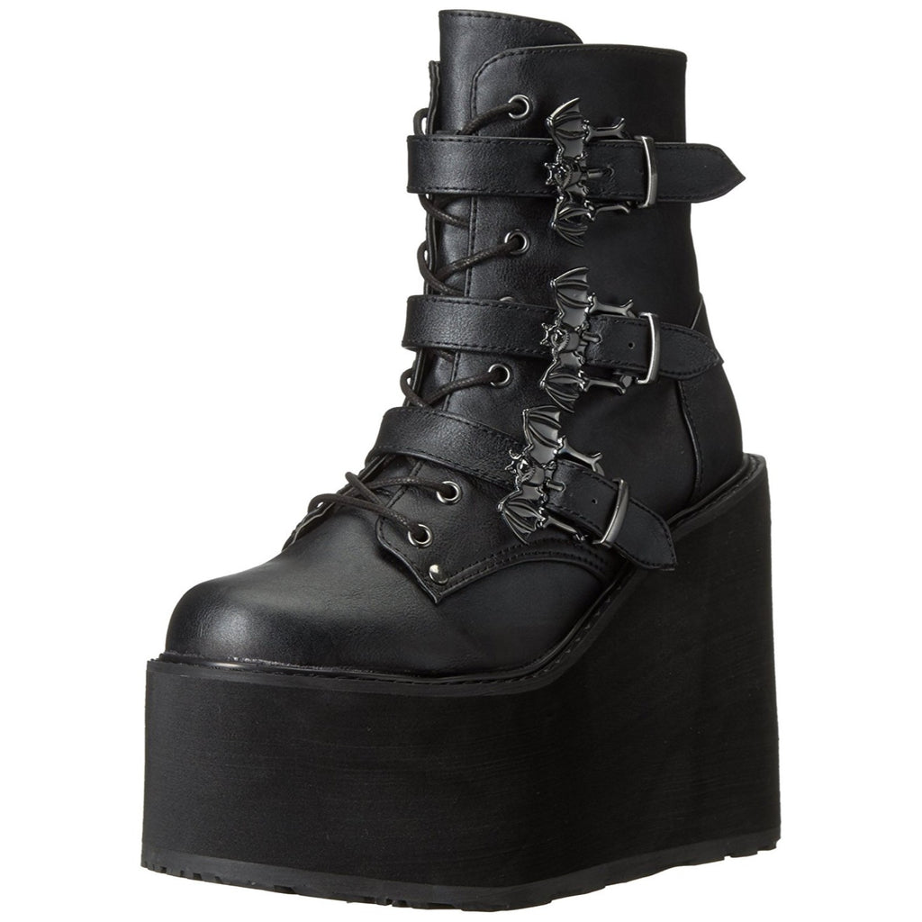 Black Biker Goth Rave Lace Up Lightweight Wedge Platform Ankle Boot SWING-103