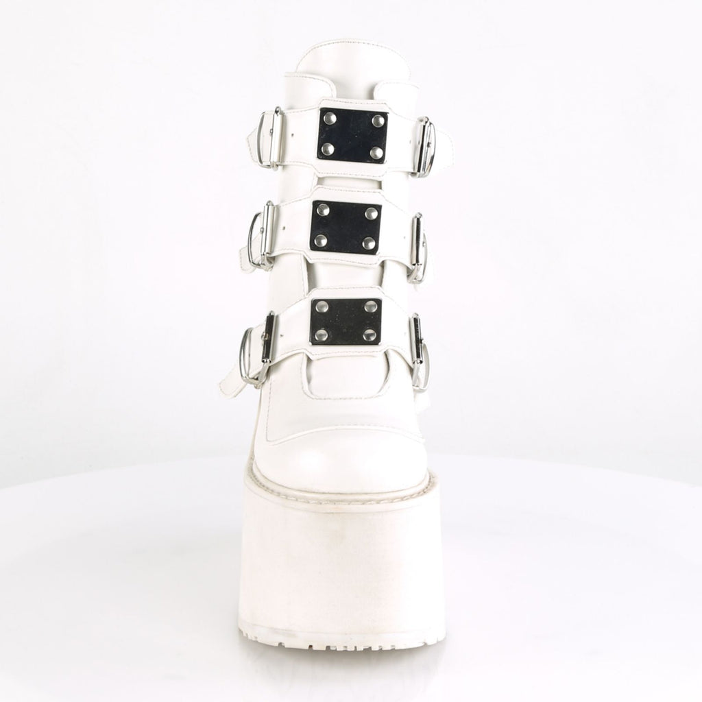 White Vegan Leather Womens Wedge Platform 3 Buckle Ankle Boot Demonia SWING-105