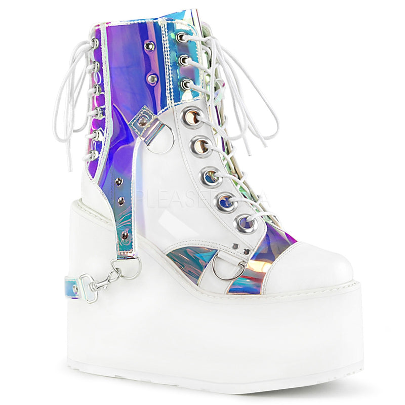 White Vegan Leather Magic Mirror TPU Womens Wedge Platform Lace Up Ankle Boots