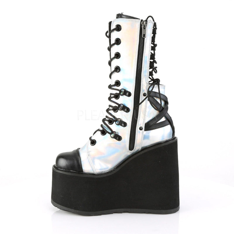 Silver Hologram Womens Ankle High Boot Holographic Goth Rave Wedge Platform