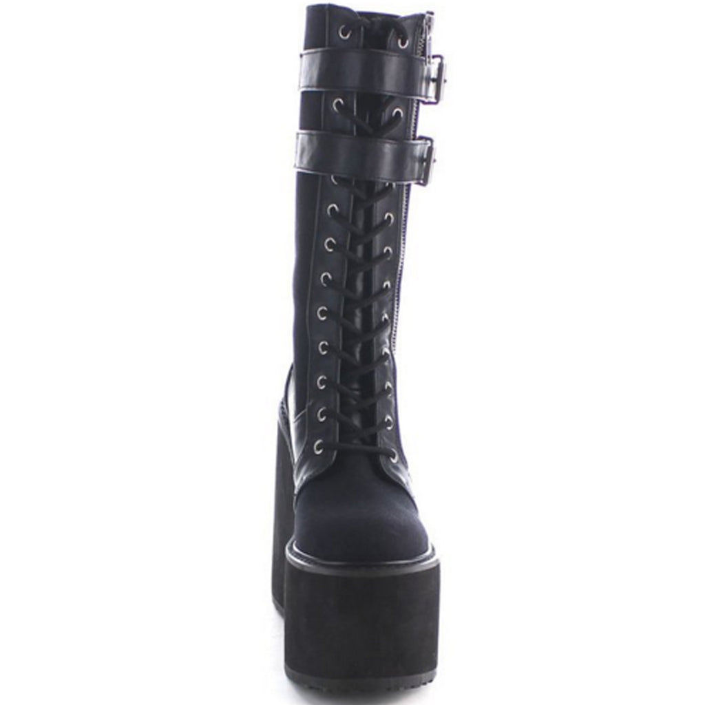 Black Canvas Womens Gothic Goth Grunge Knee High Boots Platform Buckle Strap