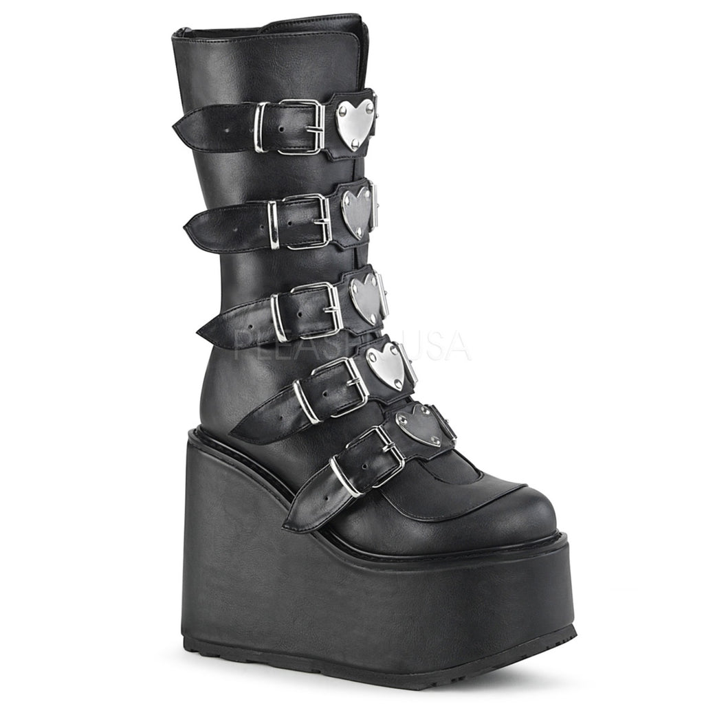 Black Vegan Leather Womens Platform Mid-Calf Boots 5 Buckle DEMONIA SWING-230