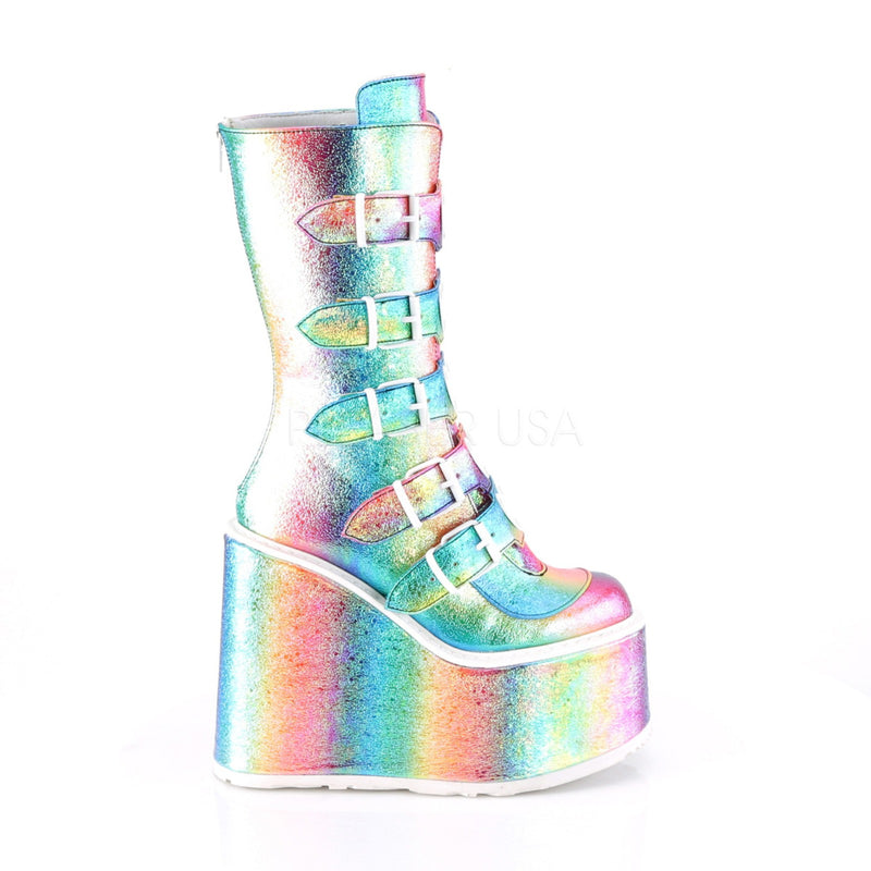 Rainbow Iridescent Womens Platform Mid Calf Boots 5 Buckles DEMONIA SWING-230