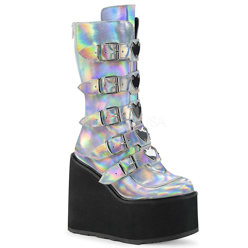 Silver Hologram Womens Platform Mid Calf Boots 5 Buckle Strap DEMONIA SWING-230