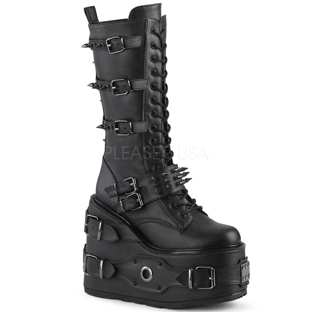 Black Vegan Leather Mid Calf Boots Wedge Platform Gothic Biker Goth Punk Spikes
