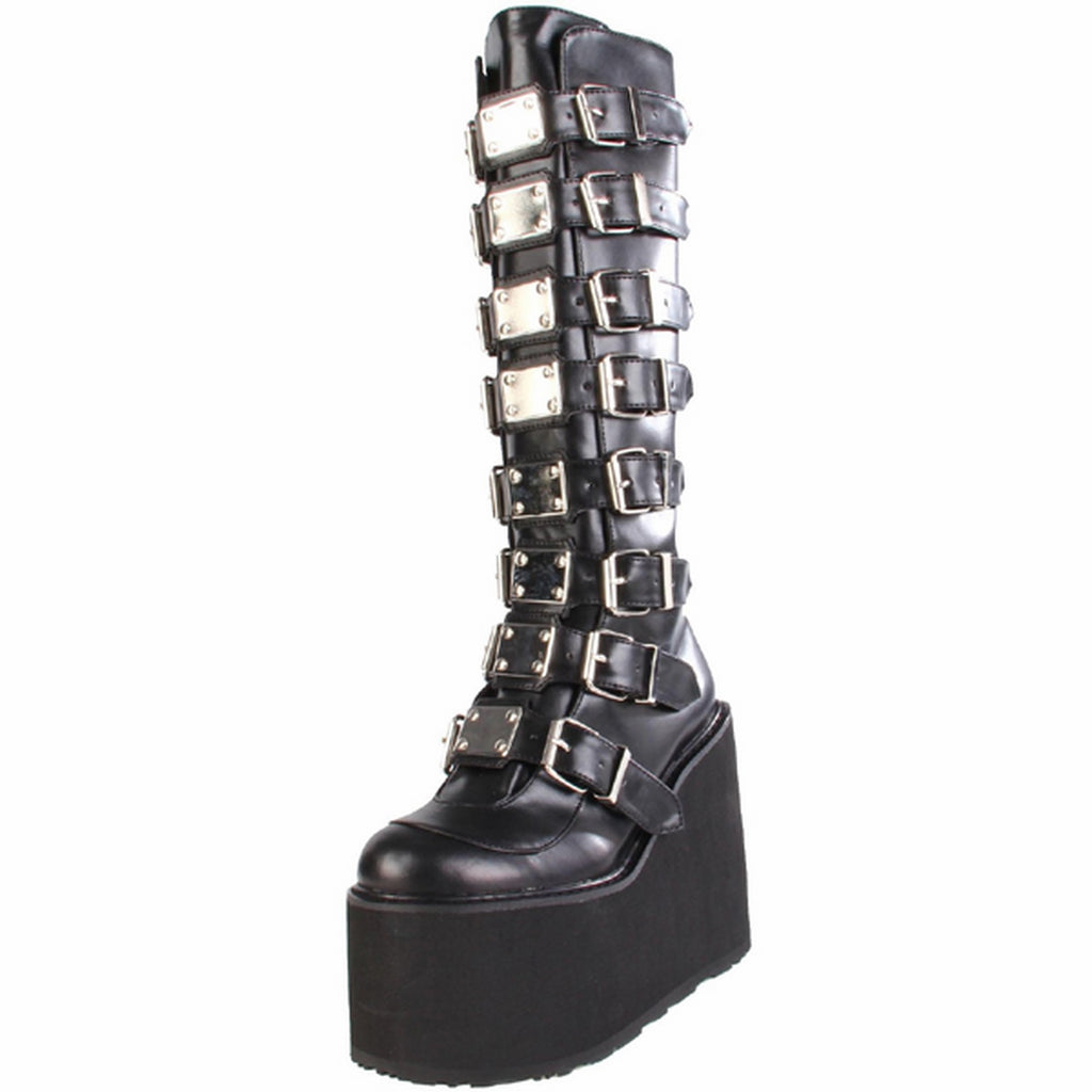 Black Matte Womens Punk Gothic Buckle Strap Platform Knee High Boots Shoes