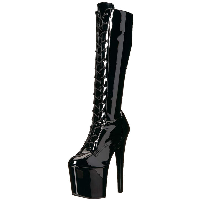 Black Patent Stretch Lace Up Knee High Boots Platform Stripper Sexy Exotic Dance