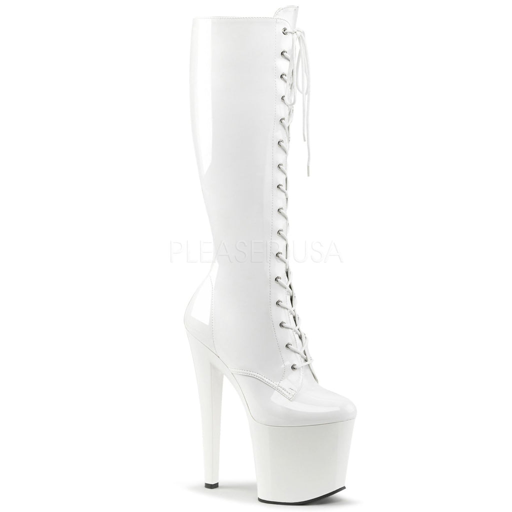 White Patent Stretch Lace Up Knee High Boots Platform Stripper Sexy Exotic Dance