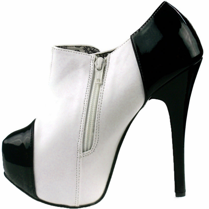 White Black Patent Ankle High Boots Platform Burlesque Stage Showgirl High Heels
