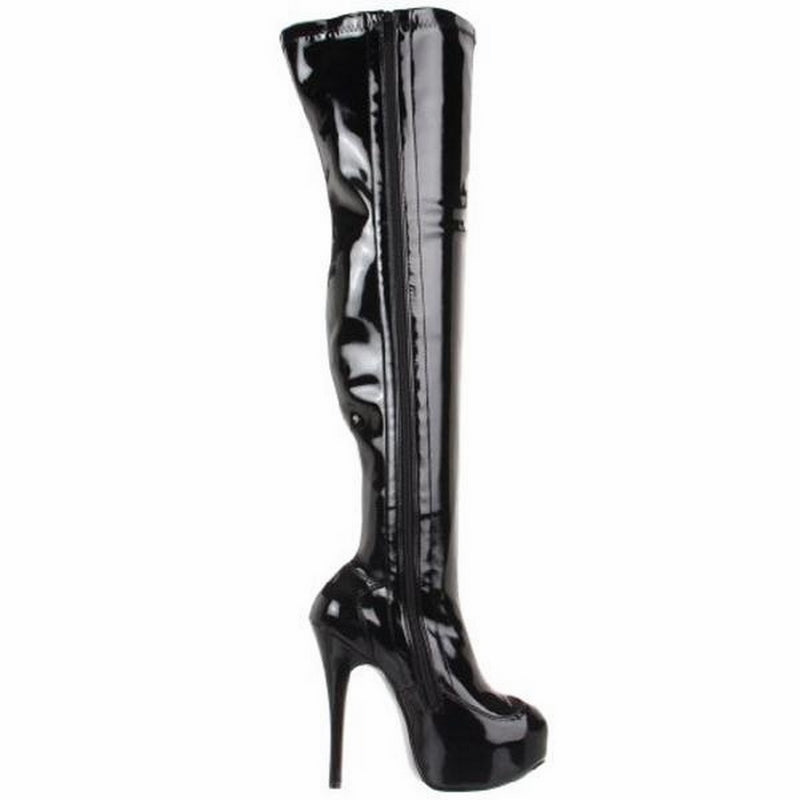 Black Patent Platform Stretch Thigh High Boot Burlesque Stage Showgirl High Heel