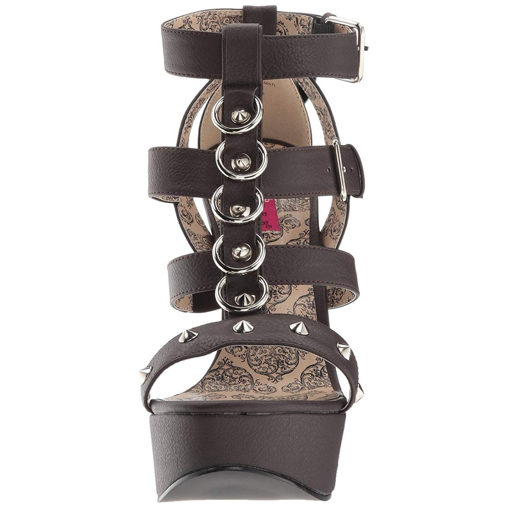 Brown Matte Wide Width Strappy T-Strap Sandals Dance Platform Shoes Studded Ring