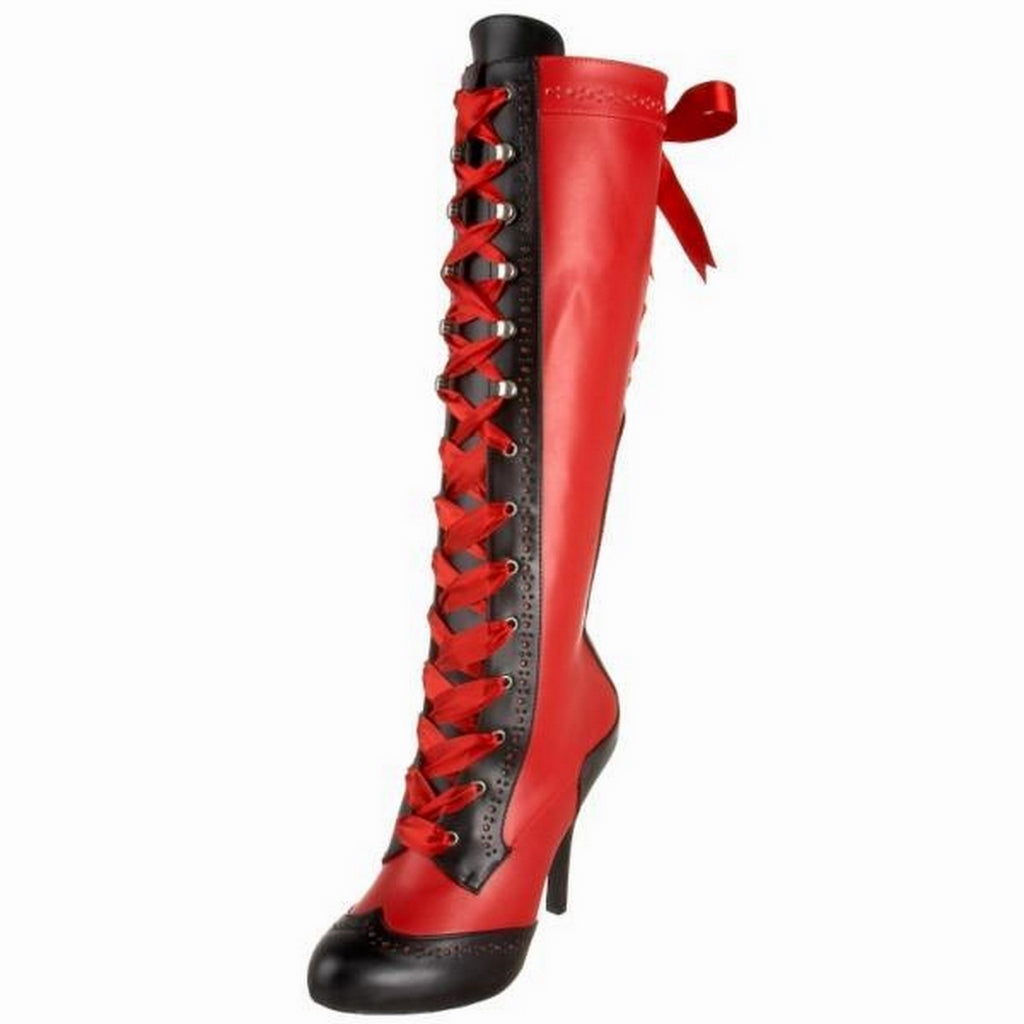 Red Black Matte Corset Lace Up Knee High Boots Sexy Victorian Burlesque Costume