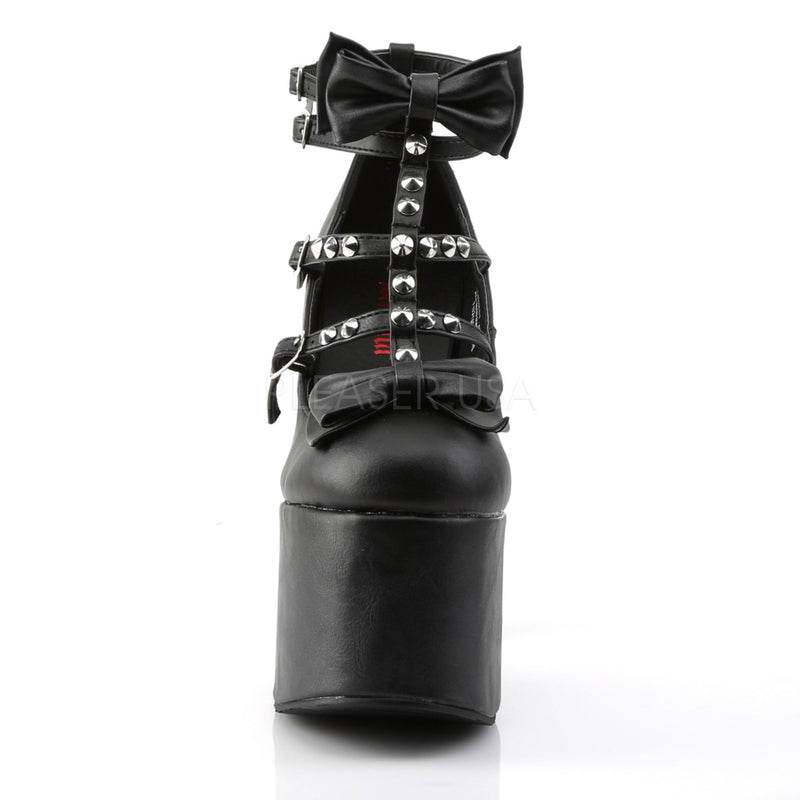 Black T-Strap Goth Biker Punk Stud Spike Chunky Platform Strappy Pumps Shoes