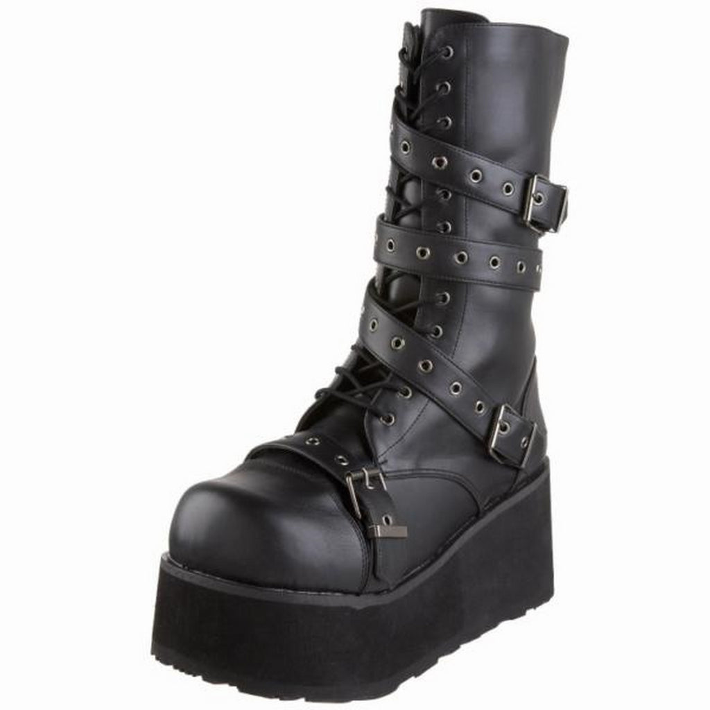 Black Matte Mens Biker Rivet Goth Roker Punk Mid Calf Boots Platform Alternative
