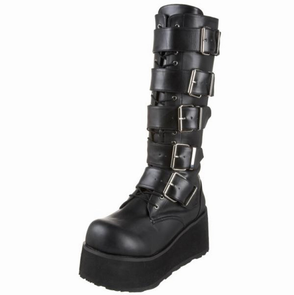 Black Matte Mens Biker Goth Punk Alternative Platform Knee High Boots 5 Buckles