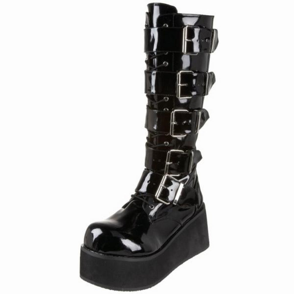Black Patent Mens Biker Goth Punk Alternative Platform Knee High Boots 5 Buckles