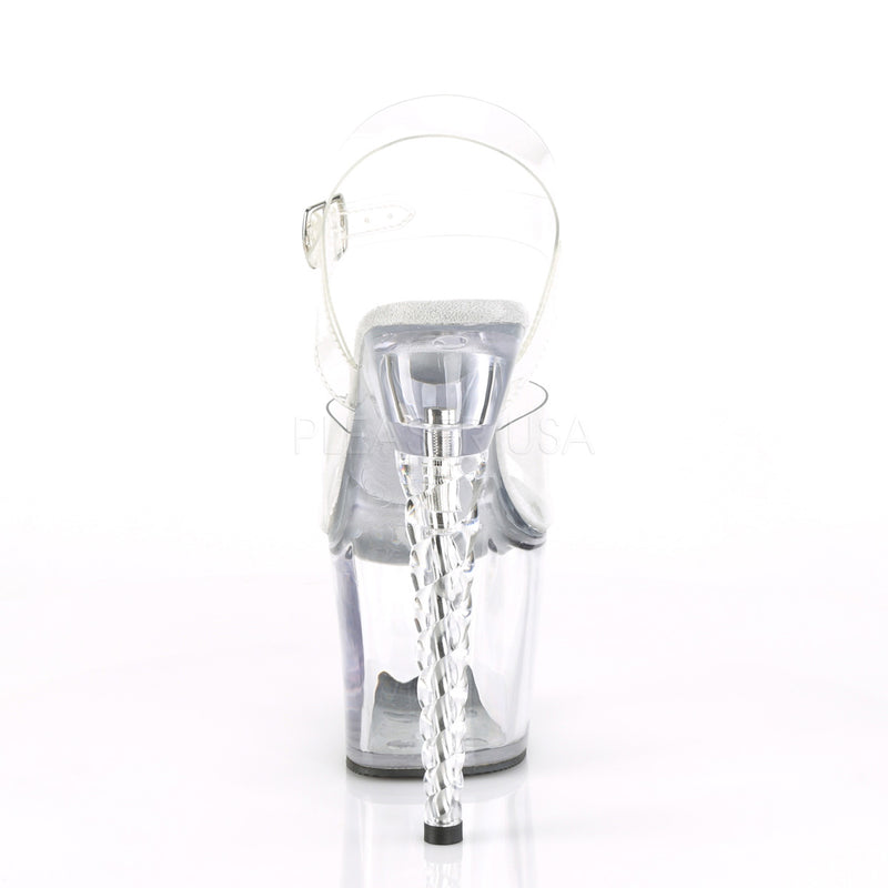 Clear Ankle Strap Sandals Unicorn Heel Platform Sexy Exotic Pole Dance Shoes