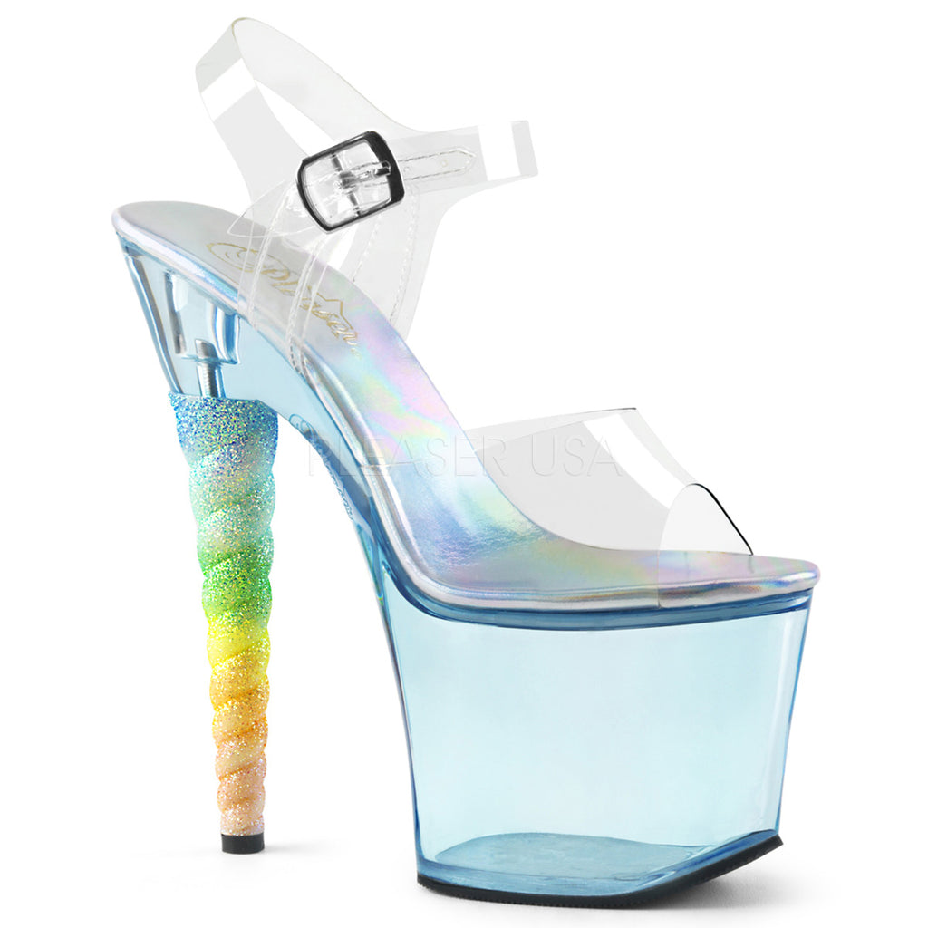 Baby Blue Tinted Ankle Strap Sandals Platform Unicorn Heel Sexy Pole Dance Shoes