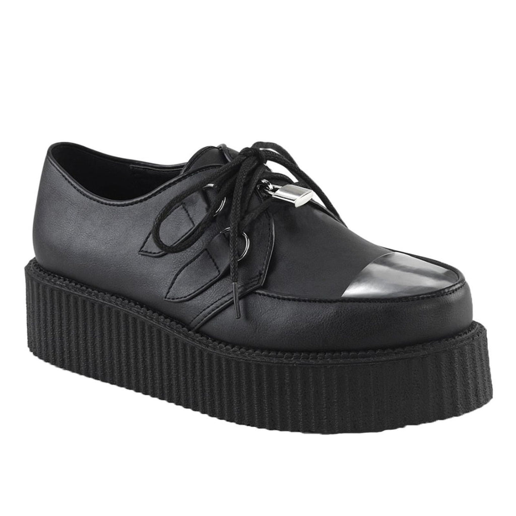 Black Vegan Leather Mens Oxford Creeper Platform Shoes Goth Punk Alternative