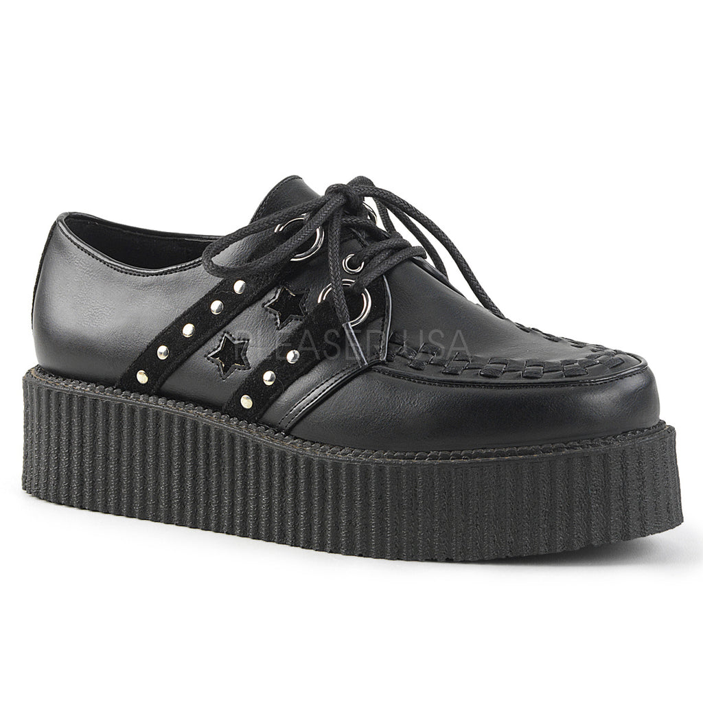 Black Vegan Leather Suede Mens Unisex Goth Punk Alternative Oxford Creeper Shoes