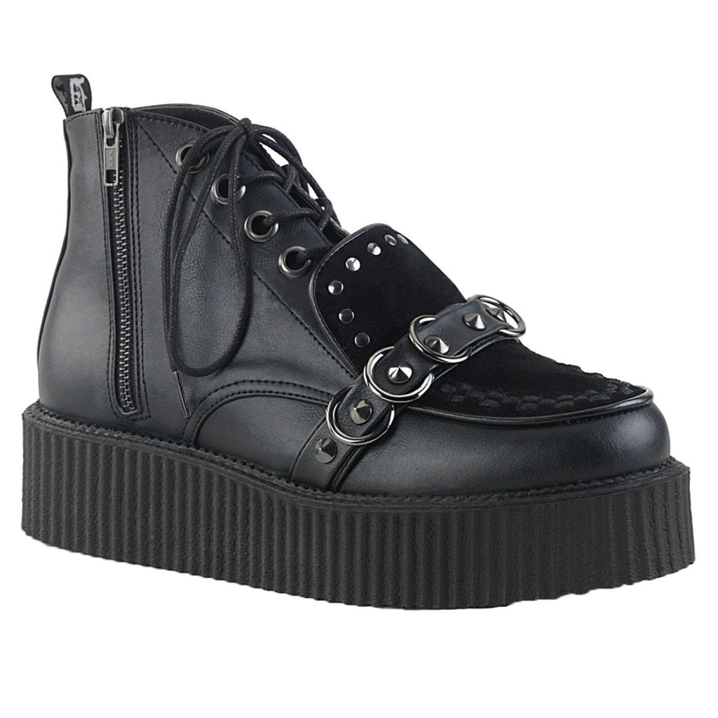 Black Vegan Leather Mens High Top Oxford Creeper Goth Punk Alternative Shoes