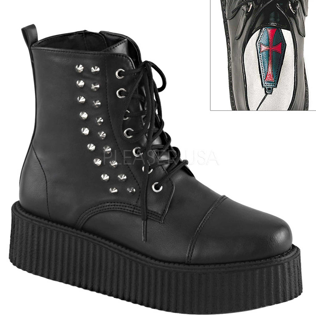 Black Mens Lace Up Creeper Ankle Boots Platform Combat Goth Punk Alternative