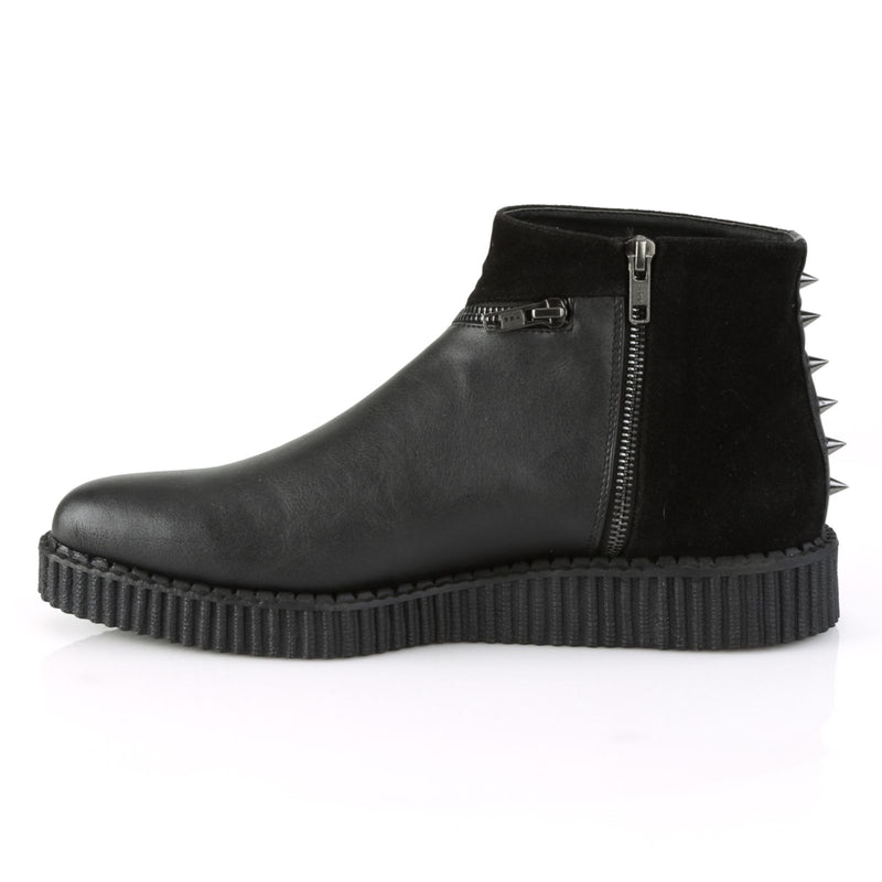 Black Matte Mens Biker Goth Stud Zipper Pointed Toe Casual Ankle Boot Creeper
