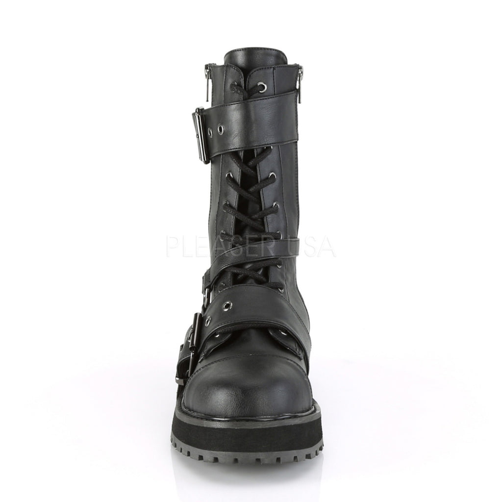 Black Vegan Leather Lace Up Rock Goth Punk Combat Biker Mid Calf Boots Platform