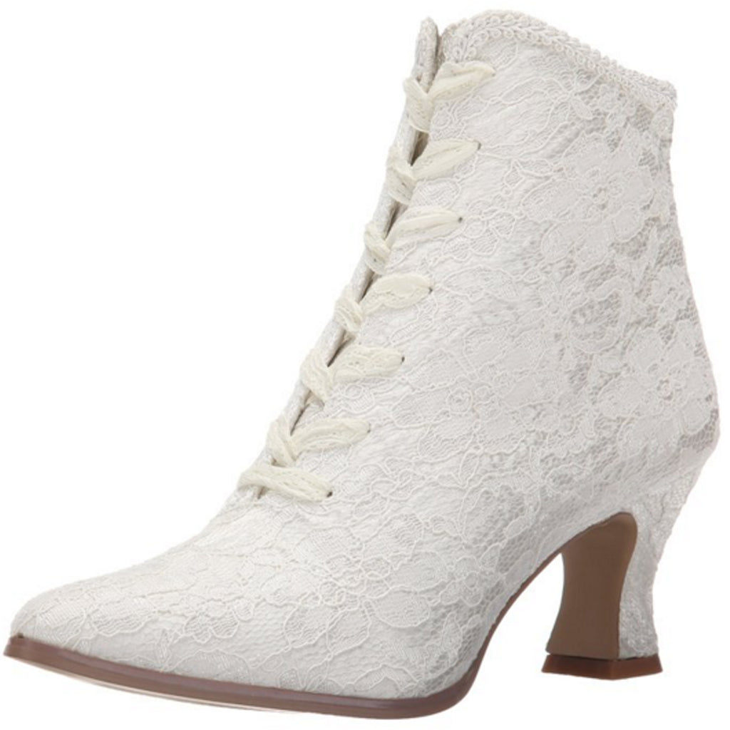 Ivory Womans Lace Up Vintage Victorian Wedding Bridal Shoes Steampunk Boots