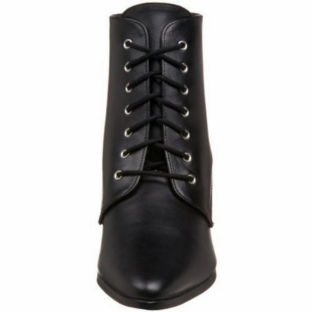 Black PU Womens Lace Up Kitten Heel Ankle Boots Costume FUNTASMA VICTORIAN-35