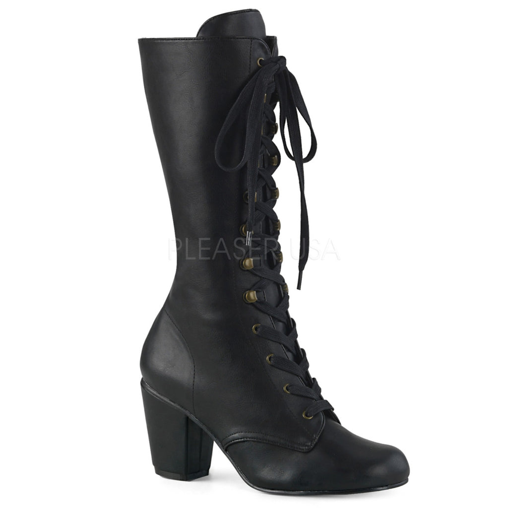 Black Vegan Victorian Vintage Lace Up Steampunk Civil War Womans Granny Boots
